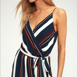 Navy blur striped jumpsuit